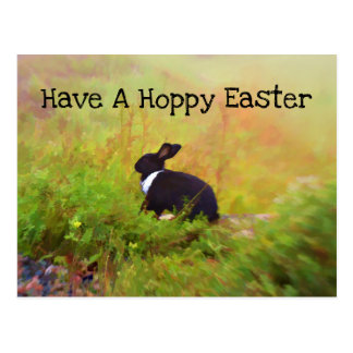 Black And White Easter Bunny In Colorful Foliage Postcard