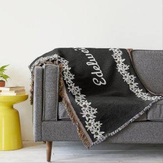 Black and White Edelweiss Throw Blanket