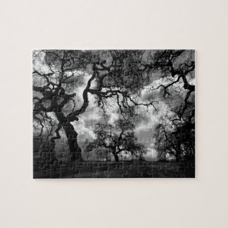 Black and White Eerie Trees Jigsaw Puzzle