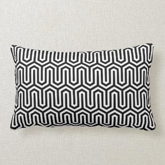 Black and White Egyptian Art Pattern Lumbar Cushion