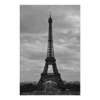 black and white eiffel poster