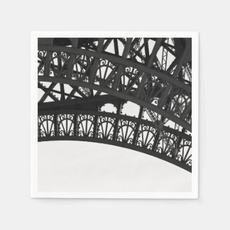 Black and White Eiffel Tower Arch Paper Napkins