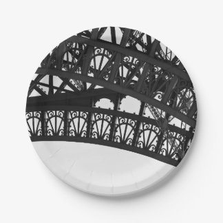 Black and White Eiffel Tower Arch Paper Plate