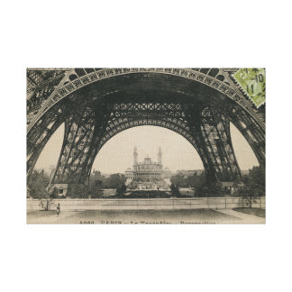 Black and White Eiffel Tower Base Gallery Wrap Canvas