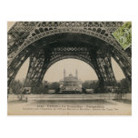Black and White Eiffel Tower Base Post Card