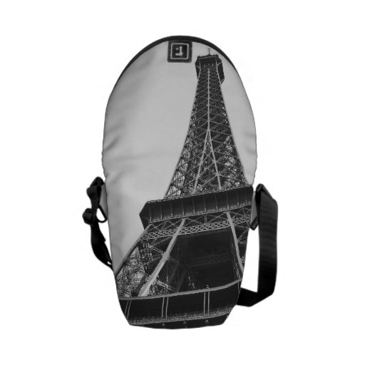 Black and White Eiffel Tower Messenger Bags