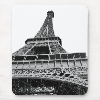 Black and White Eiffel Tower Mouse Pad