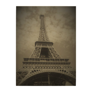 Black and White Eiffel Tower on Canvas Wood Prints