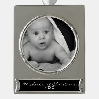 Black and White Elegant Baby's First Christmas Silver Plated Banner Ornament