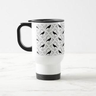 Black and White Elegant Crow Pattern. Stainless Steel Travel Mug