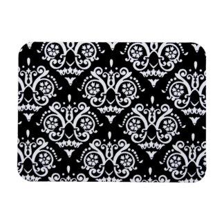 Black and White Elegant Damask Rectangular Photo Magnet