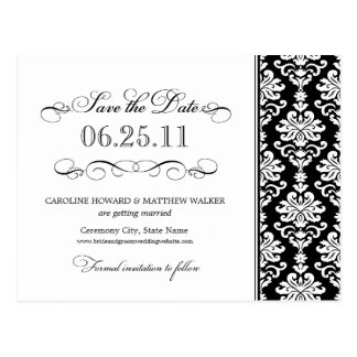 Black and White Elegant Damask Save the Date Postcard