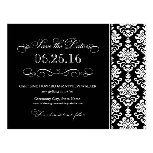 Black and White Elegant Damask Save the Date Postcards