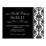 Black and White Elegant Damask Save the Date Post Cards