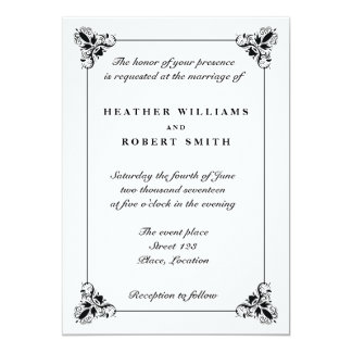 Black And White Elegant Decorative Frame Wedding Card