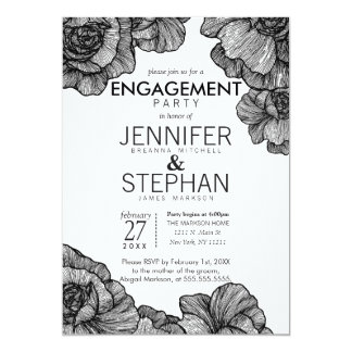 Black and White Elegant Floral Engagement Party 13 Cm X 18 Cm Invitation Card