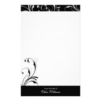 Black and White Elegant Flourish Personalized Stationery