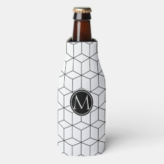 Black and White Elegant Monogram Bottle Cooler