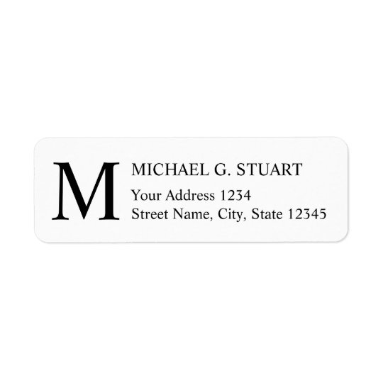 Black and White Elegant Monogram Return Address Label