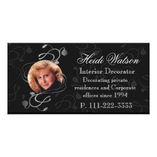 Black and White Elegant Photo Business Cards Customized Photo Card