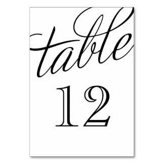 Black and White Elegant Script Table Numbers Table Card