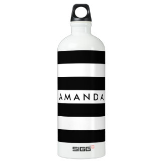 Black and white elegant striped customizable water bottle