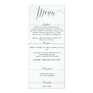 Black and White Elegant Wedding Menu Card