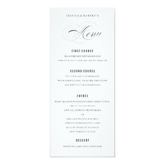 Black and White Elegant Wedding Menu Script 10 Cm X 24 Cm Invitation Card