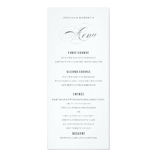 Black and white Elegant Wedding Menu Script Card