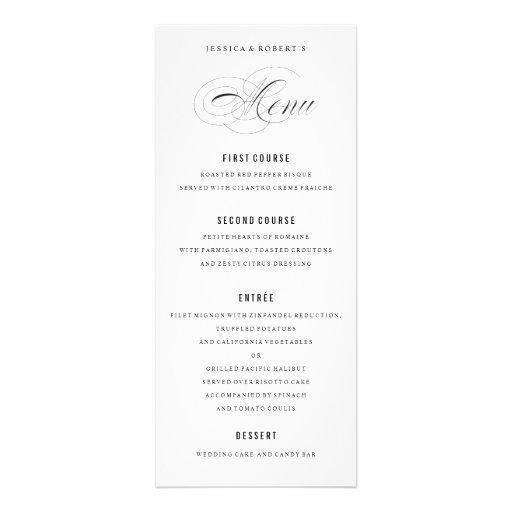 Black and White Elegant Wedding Menu Script Personalized Invite