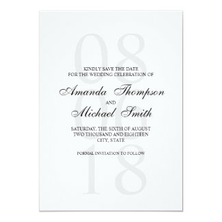 Black and White Elegant Wedding Save the Date Card