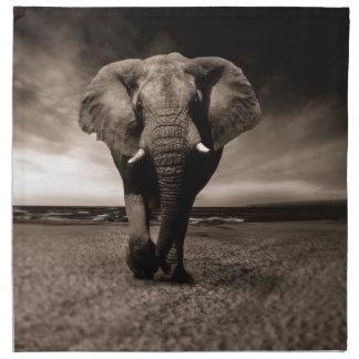 Black And White Elephant Napkin
