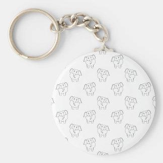 Black and White Elephant Pattern. Basic Round Button Key Ring