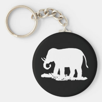 Black and White Elephant Silhouette Basic Round Button Key Ring