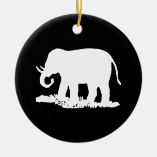 Black and White Elephant Silhouette Ornaments