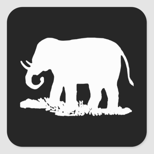 Black and White Elephant Silhouette Sticker