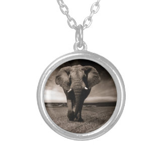 Black And White Elephant Silver Plated Necklace