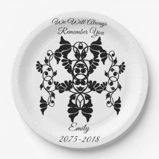 Black and White Embellishing Flowers for Funeral Paper Plate