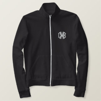 Black and White Embroidered Monogram Jacket