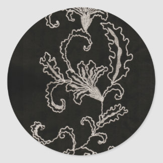 Black and White Embroidery Classic Round Sticker