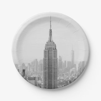 Black and White Empire State Building Manhattan Paper Plate