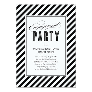Black and White Engagement Party Invitations