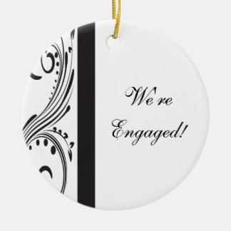 Black and White Engagement Round Ornament