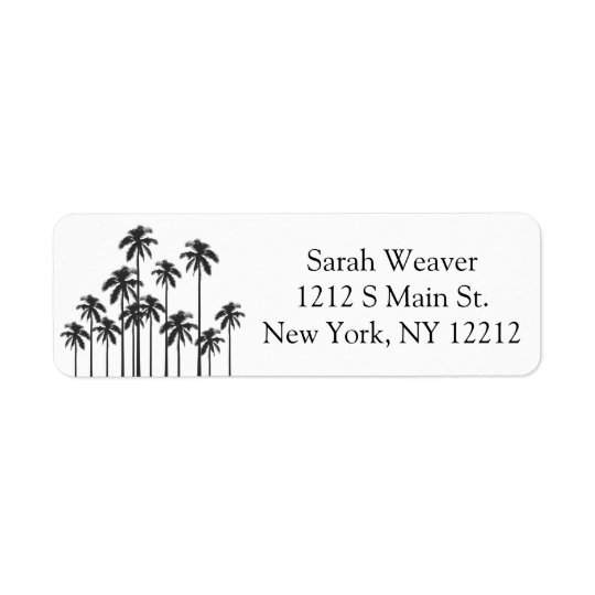 Black and White Exotic Tropical Palm Trees Return Address Label
