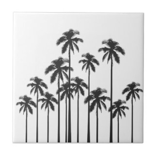 Black and White Exotic Tropical Palm Trees Small Square Tile