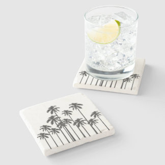 Black and White Exotic Tropical Palm Trees Stone Beverage Coaster