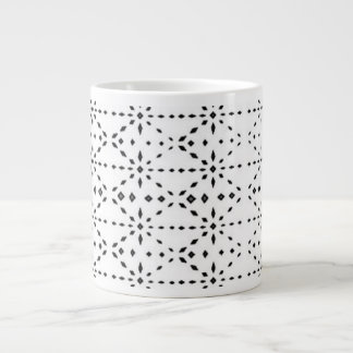 Black and White Eyelet Jumbo Modern Coffee Mug