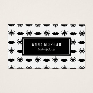 Black and White Eyes & Lips Makeup Artist Business Card
