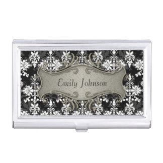 Black and White Fancy Damask Business Card Holder