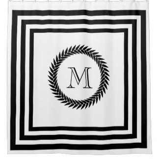 Black and White Fancy Monogram Shower Curtain